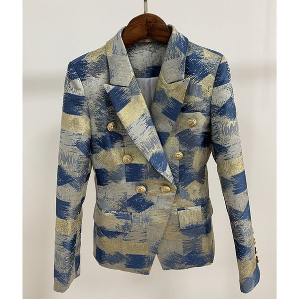 HIGH QUALITY New Fashion 2019 Designer Blazer Jacket Women's Lion Metal Buttons Double Breasted Colors Painting Jacquard Blazer womens