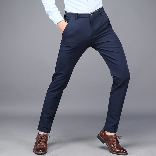 QMGOOD 2019 Spring and Summer Classic Casual Pants Men Fashion Slim Pencil Pants High Quality Mens Business Casual Brand
