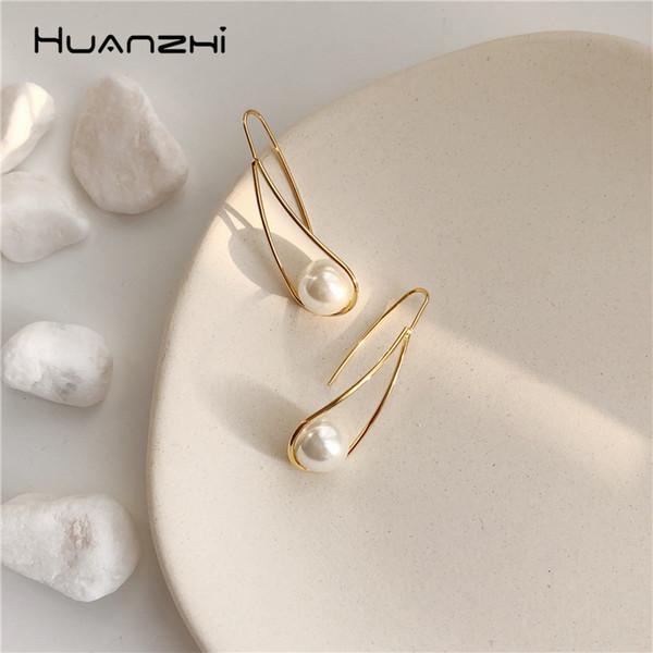 huanzhi 2019 sweet chic imitation pearls water droplets geometric long drop earrings for women girl wedding party gift jewelry