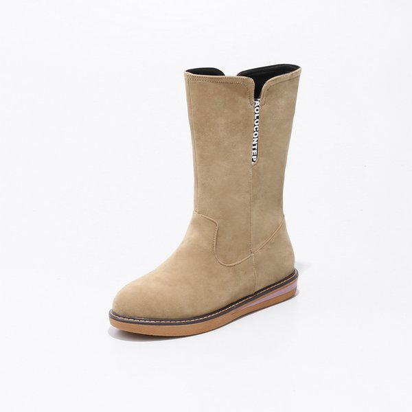 Hot Sale-A new zipper for autumn/winter Europe, with a comfortable flat heel and middle boot 9151