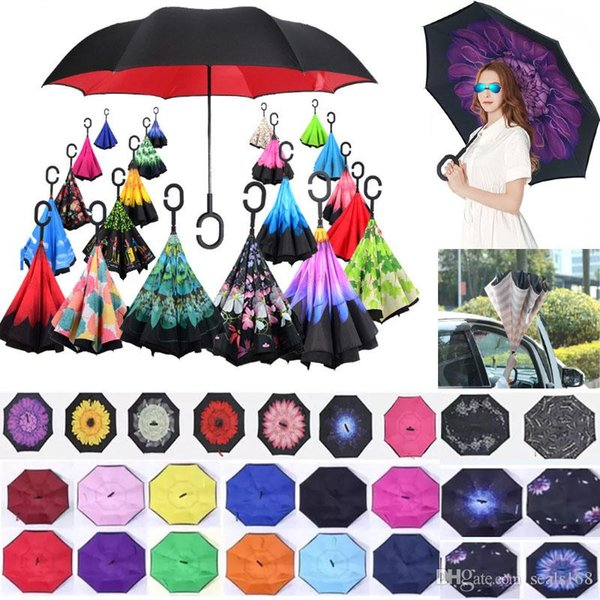 Car Inverted Umbrellas Double Layer With C Handle Inside Out Reverse Windproof Umbrella Protection C-Hook Hands Umbrella HH7-1950