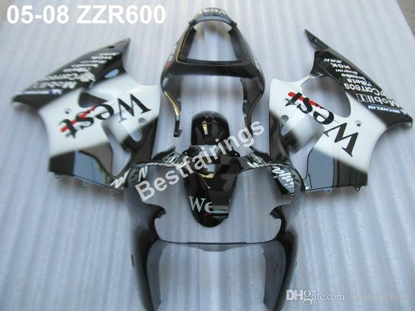 High quality plastic fairing kit for Kawasaki ZZR600 05 06 07 08 white black injection molding fairings set ZZR 600 2005-2008 ZV23