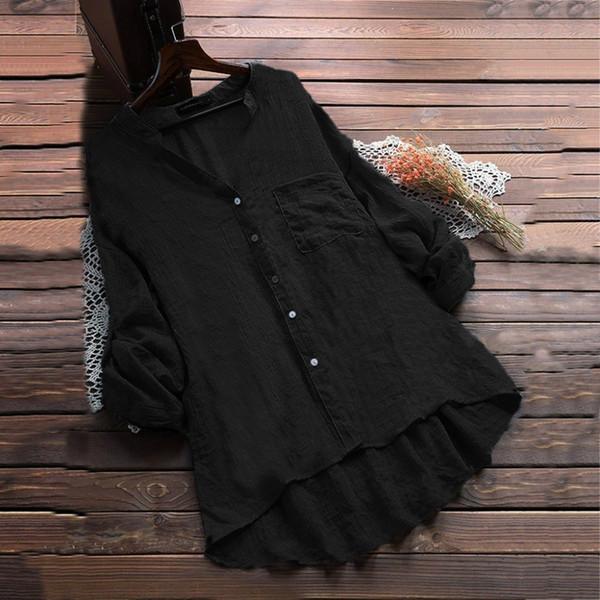 Blusa de alta calidad de las mujeres de algodón de lino Casual de manga larga con cuello en V bolsillos Blusa Tops Ladies Solid Summer Women Ropa suelta BB4