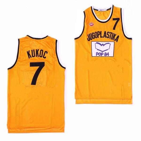 La version de film Toni Kukoc Jersey # 7 Jugoplastika Split Maillots de Basketball Jaune Livraison Gratuite Logos Cousus