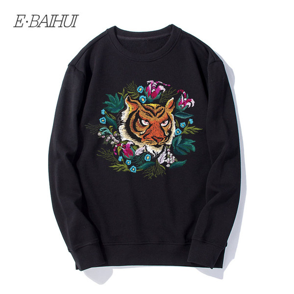 E-BAIHUI 2019 New Arrival Men Sweatshirt Animal Logo Hoodies Tiger Print Cotton Regular Sweatshirt men clothing WD132