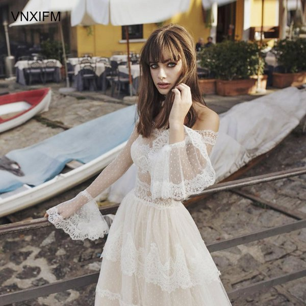 Charming Bohemian Beach Lace Wedding Dresses Off The Shoulder Appliqued Boho Bridal Gowns With Long Sleeves Tulle A Line Vestidos De Novia