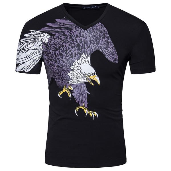 Быстрая доставка 2019 лето новый мужской орел принт футболка 95% хлопок с короткими рукавами футболки черная футболка # 1812-YT051
