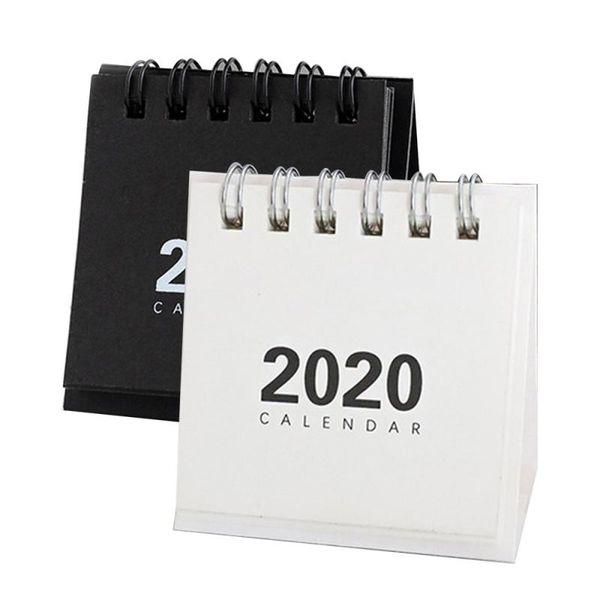top popular 2020 Calendar Black White Grey Series 2020 Fresh Mini Desktop Paper Calendar dual Daily Scheduler Table Planner Yearly Agenda Organizer 2021