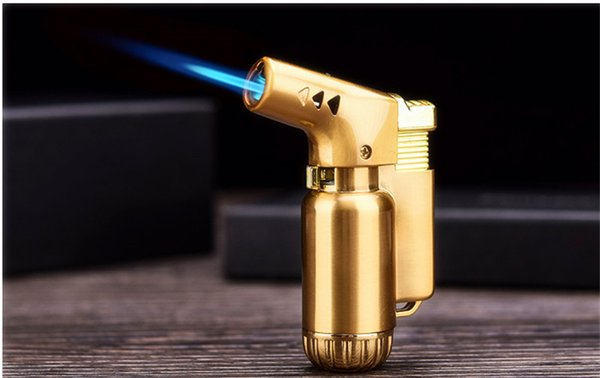 2pcs Adjustable butane gas torch jet flame torch metal windproof cigarette cigar lighter refillable gas free shipping