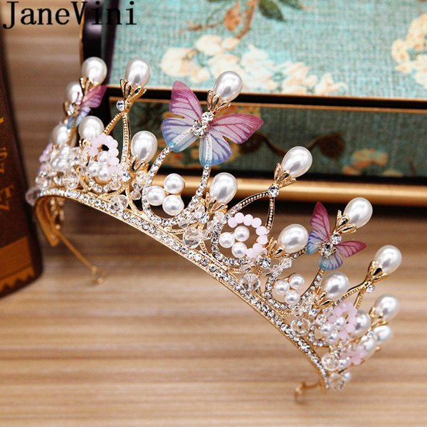 JaneVini Boho Butterfly Bridal Tiaras and Crowns Pearl Crystal Bride Hair Jewellery Headdress Wedding Headband Birthday Party Accessories