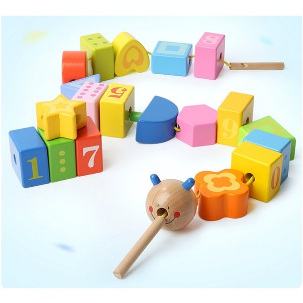 OBCANOE Caterpillar Lacing Blocks for Early Learning of Shape Color and Number Children Can Play With to Train Hand-Eye Coordination