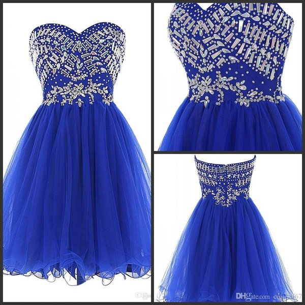 2019 Nuevo Royal Blue Tulle Vestidos de baile Cariño Crystal Beadings Vestidos de fiesta cortos Vestidos de Fiesta robe de Cocktail vestidos de novia