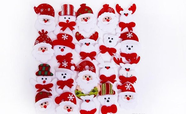 Led Christmas Brooch Badge Decorations For Santa Claus Snowman Deer Bear Glow Flashing Brooch Plush Toys Gift