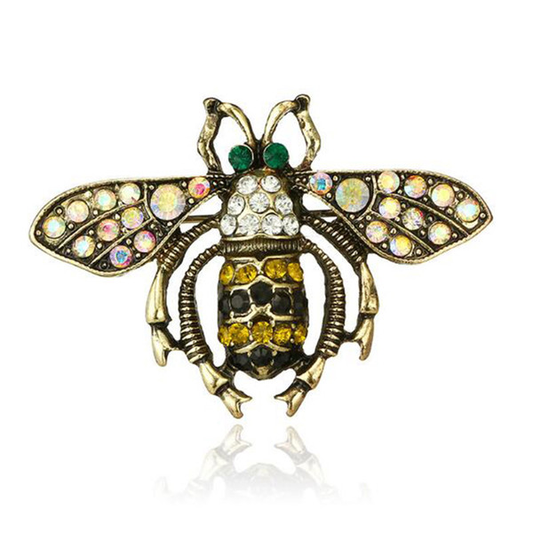 Cute Insect Bee Brooch Pins Crystal Rhinestone Brooches Scarf Clips Women Men Suit Lapel Pins Accessories Jewelry