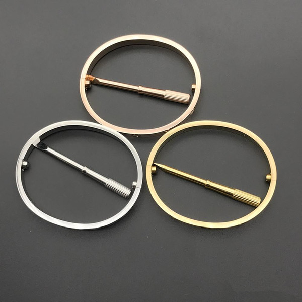 best selling Stainless Steel Love Bracelets silver rose gold bracelet Bangles Women Men Screw Screwdriver Bracelet Couple Jewelry with red dustbag
