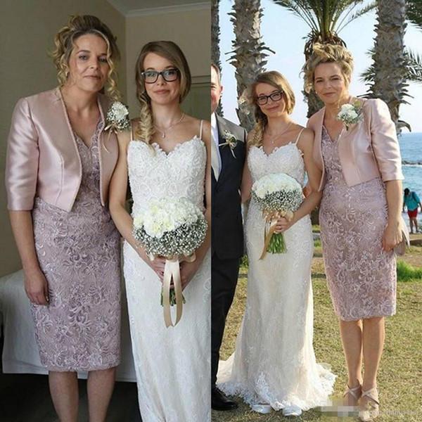 Vaina Hasta la rodilla Vestido de la madre de la novia Con chaqueta Elegante vestido de encaje Invitación de boda Vestido con cuello en V Novio Madre Vestidos