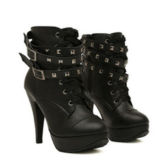 2019 spring fashion Women Black High Heel Ankle Boots Buckle Gothic Punk Motorcycle Combat Boots Platform shoes