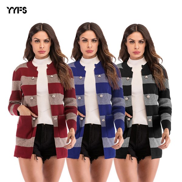 New European and American women's wear striped button pocket knitted cardigan in autumn and winter of 2018
