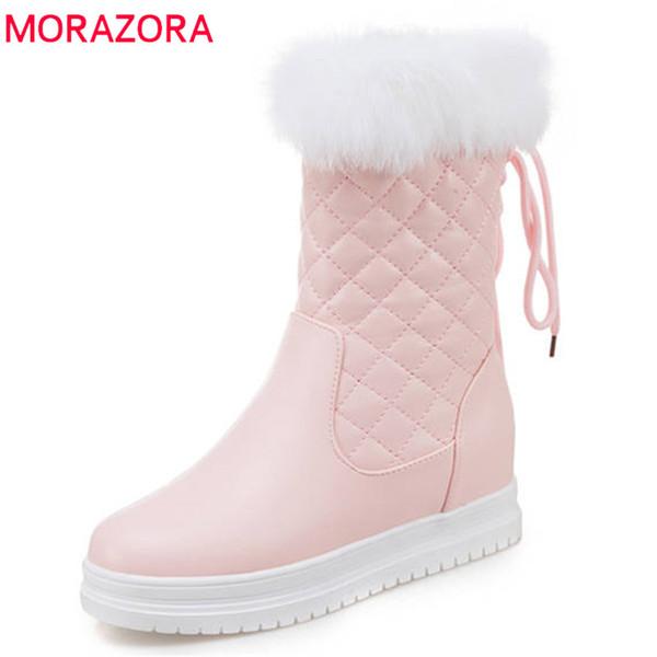 MORAZORA 2020 heißen Verkauf Mitte Wade Stiefel mit hohem qulity PU-runder Zehe Reißverschluss Stiefel weibliche süße Plattformschuhe warmen Winter Schnee