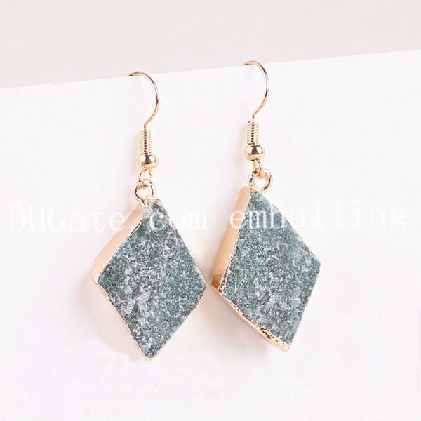 10 Pairs Raw Green Aventurine Rhombus Earrings Gold/Silver Plated Edge Natural Rough Crystal Stone Dangle Earrings Healing Gemstone Jewelry