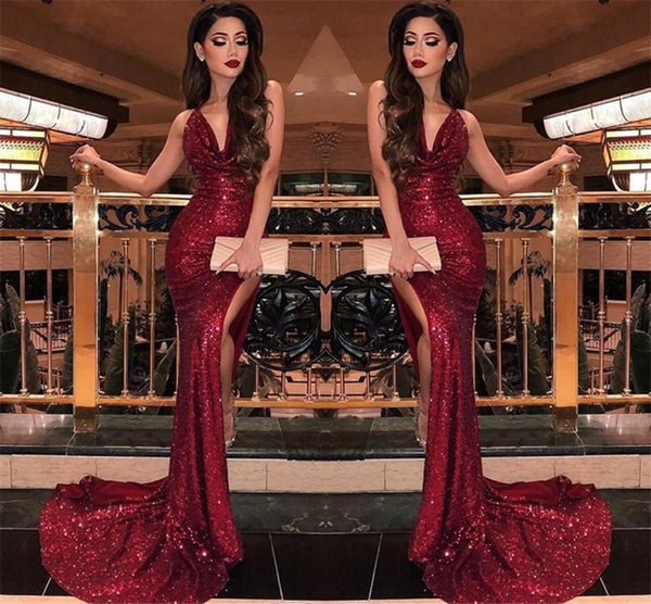 2019 Burgundy V Neck Sequins Mermaid Prom Dresses Sexy High Slits Vestidos De Fiesta Sweep Train Formal Long Evening Party Prom Gowns BC0866