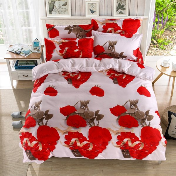 Blue Home Textile,Pink Rose 3d Heart-shaped King Size Bedding Set Peacock Duvet Cover Bed Sheet Pillow Cases 4pcs Bed Linen 36