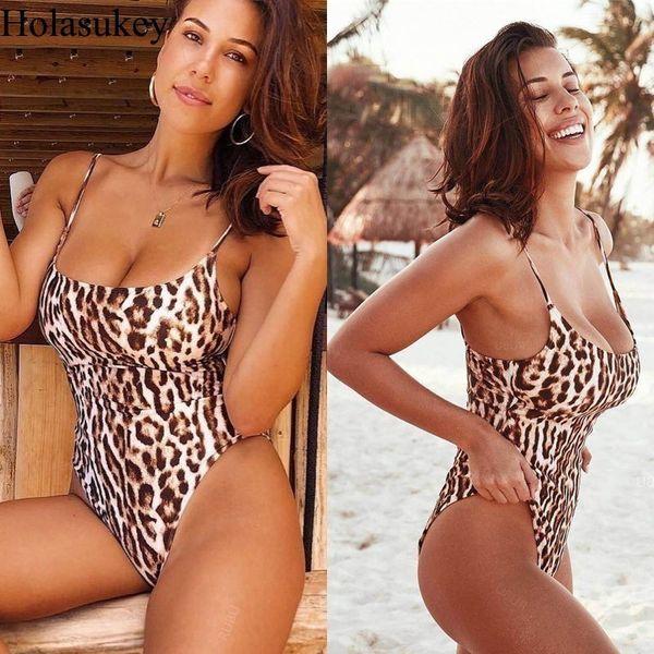 Holasukey One Piece Swimsuit Women Maillot Monokini Leopard Print 2019 Swimwear Sexy Mujer Maillot De Bain Femme Femme Jumpsuit Y19072301
