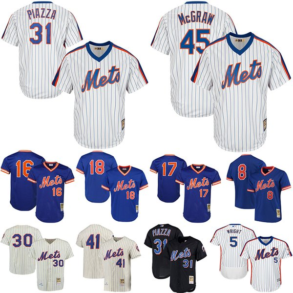 watch 3bf84 218a0 2019 New York Tom Seaver Mets Jerseys Jacob DeGrom Dwight Gooden Keith  Hernandez Darryl Strawberry Piazza Cooperstown Collection Baseball Jersey  From ...