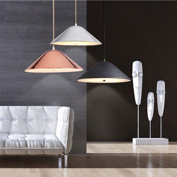 Nordique Moderne Concepteur Rond Noir Pendentif Luminaires Luminaires Suspension Pour Salon Loft Décor Cuisine Salle À Manger Chambre