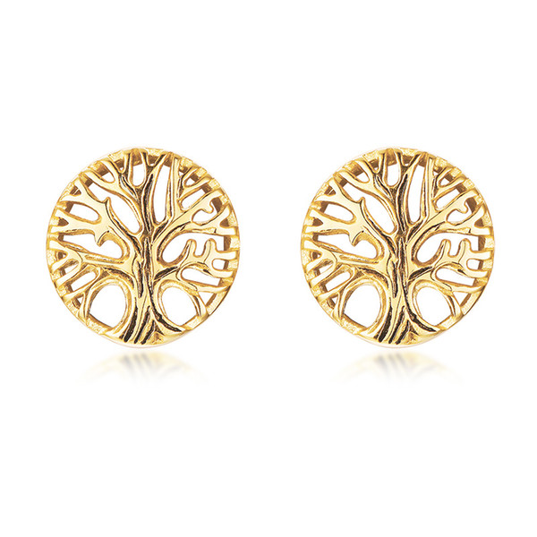 Gold Tree of Life Stud Earrings in Stainless Steel Family Tree Stud Earrings Family Earrings