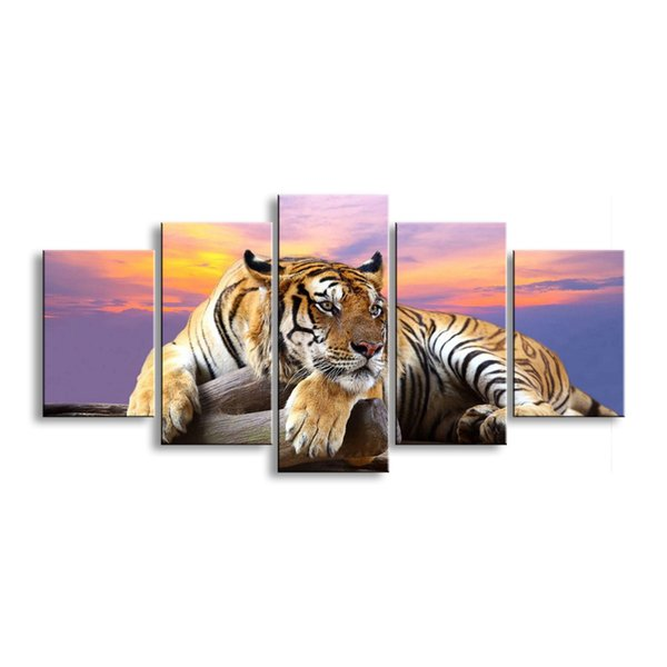 5 pieces high-definition print tiger canvas painting poster and wall art living room picture B-012D