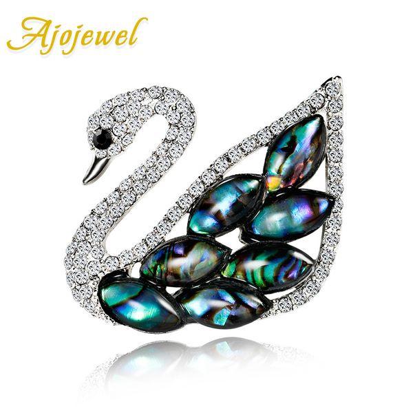 Ajojewel Blue Sea Shell Swan Strass Brosche Für Frauen Mode Mütter Tag Geschenk 2019 Großhandel Bijoux Femme