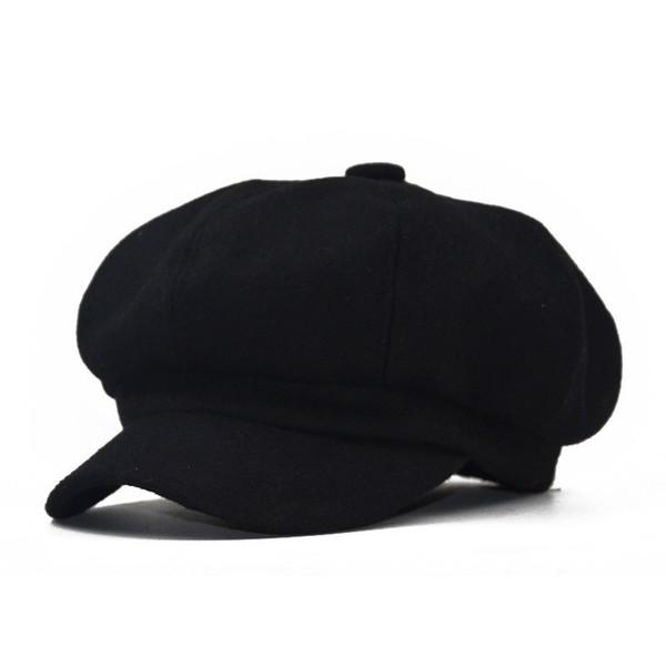 Transfronteriza de venta rápida sombrero octogonal otoño e invierno masculino viento británico Boina retro lana pintor sombrero color puro moda dama