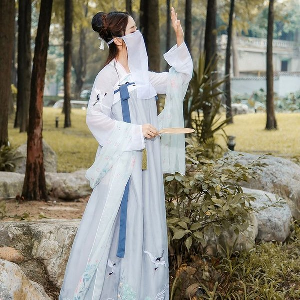 2019 New Hanfu National Ancient Chinese Costume Women Chinese Hanfu Clothes Lady Stage Performance Tang Suit DWY1151