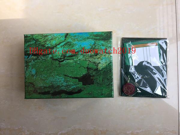 Meilleur Qualité Vert Foncé Montre Boîte Cadeau Pour Les Montres Livret Carte Étiquettes Et Papiers En Anglais Swiss Top Montres Boîtes