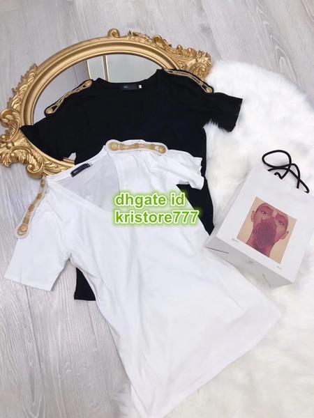 Summer Women Beads T-Shirt Sequins Two Colors Button Cotton Tee V-Neck T-Shirt Short Sleeve T-Shirt Tee S-L