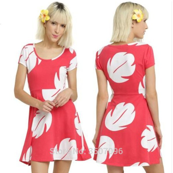 Мультфильм Стич Лило косплей платье Гавайский Skater линия платье Женщины Vestidos Halloween Party Косплей Family MatchingMX190921