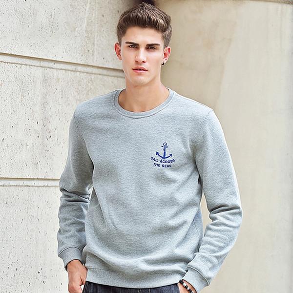 Pioneer Kampı sonbahar kış moda erkek hoodies rahat% 100% pamuk kalınlaşmak polar crewneck hoodie kazak 405102 # 345165