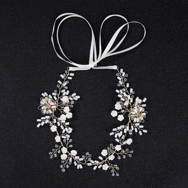 Wedding Hair Jewelry Flower Headbands for Women Hair Princess Hollow Hairband Rhinestones wreath Woven stretch hair band Wedding Accessories