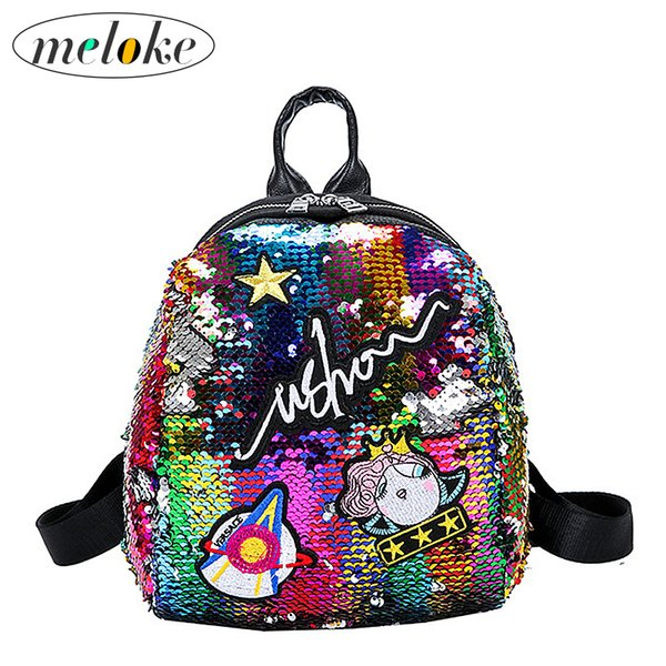 Meloke Mini Sequined With Cute Embroidery Backpacks For Women Girls Travelbag Bling Shiny School Backpack M163 Y190627
