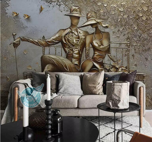 Stereo Photo Wallpaper 3D Golden Relief Figura Murales Soggiorno Camera da letto Background Papers per muri 3 D Papel De Parede