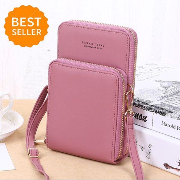 New Women pequeno Celular Crossbody Bolsa Carteira Mini Leve couro celular Corpo Cruz Phone Bag com alça de cartão Slots