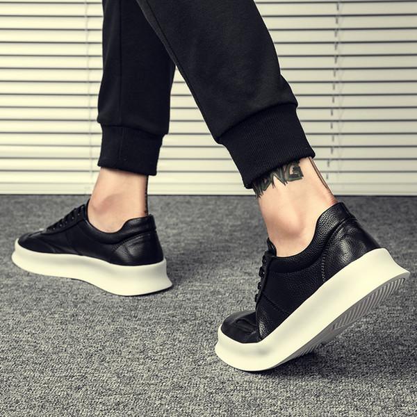 Натуральная кожа Мужская обувь Обувь высокого качества Мужская на шнуровке Повседневные квартиры Студенческая доска Британия Все подходящие туфли в корейском стиле