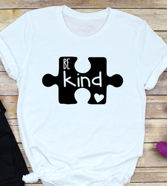 Be Kind Unisex Puzzle Piece Clothing O-Neck Tee Tumblr Hipster T-Shirt Short Sleeve Graphic Christian Gift Tops Trendy Outfits