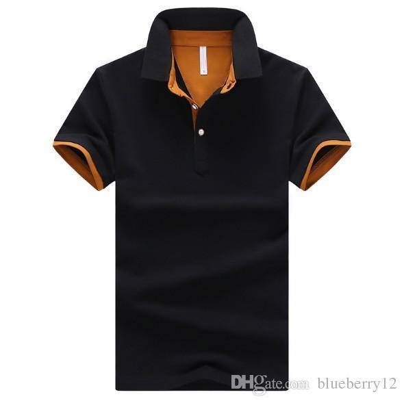 Manica corta estate del Mens di polo del risvolto Abbigliamento uomo solido di colore casuale della camicia di cotone Polo Uomo Asiatica Misura M-4XL