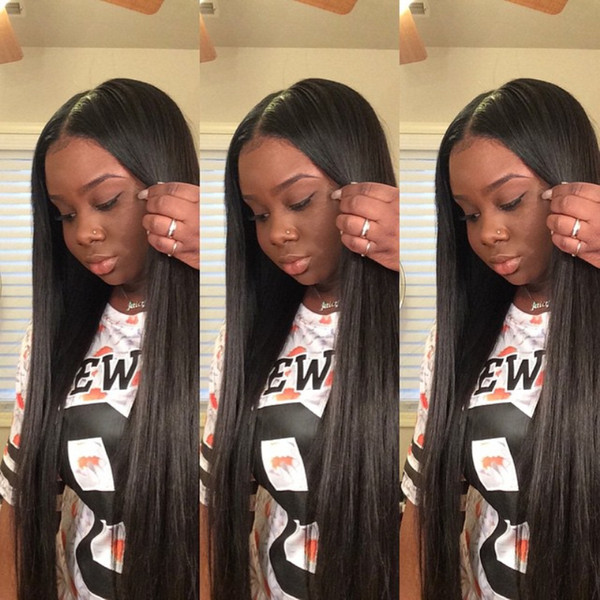 Free shipping Silky Straight human hair Lace Front Wigs Full Lace Human Hair Wigs Glueless Wig with Baby Hair Can be permed