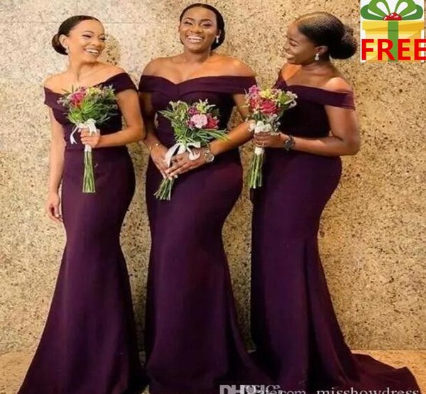 2020 Regency africana del hombro de raso largo vestido de dama acanalada tren de barrido huésped de la boda Criada de los vestidos BC1288