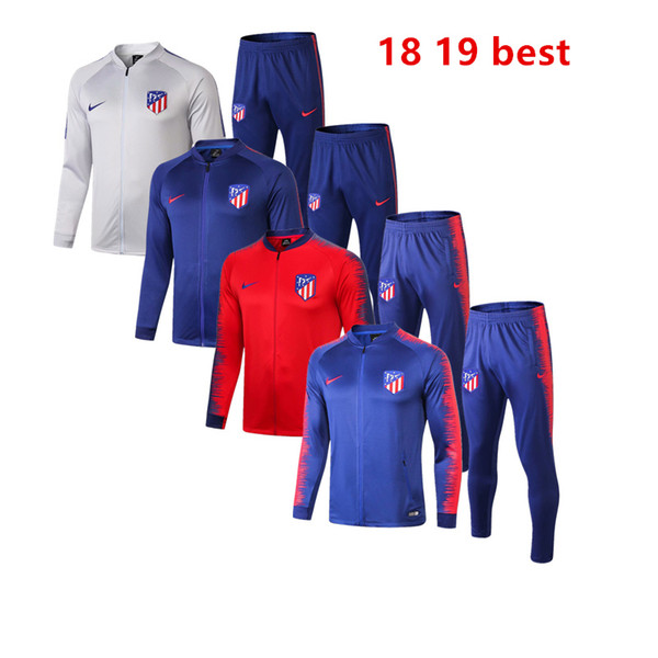 best sale 18 19 Atletico Madrid soccer mens jacket Costa Hernandez hoodie football jersey 2019 home away Griezmann sportwear dust coat