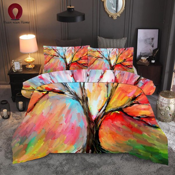 2019 Kit biancheria da letto di personalità 3 Kit pittura ad olio 3D Copripiumino Set biancheria da letto piatto Suite con letto king size Spedizione gratuita