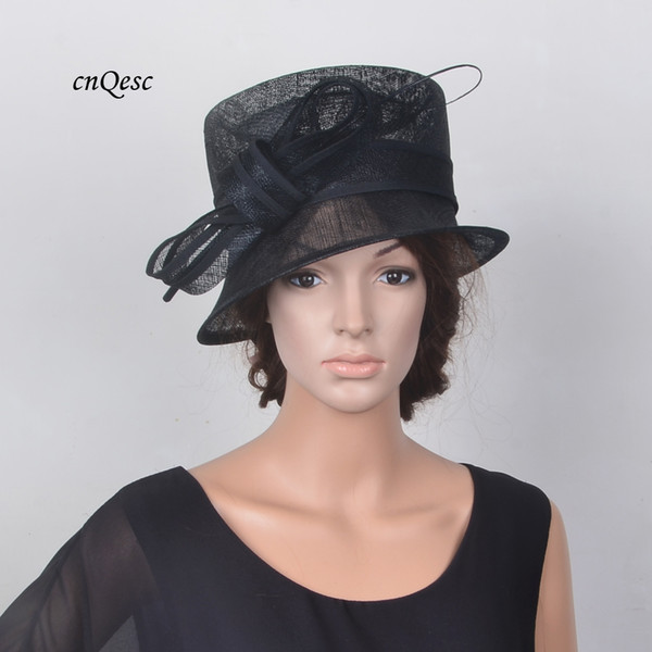 NEW Black Elegant small brim sinamay hat Royal wedding hat bridal fascinator w/ostrich spine for Kentucky Derby
